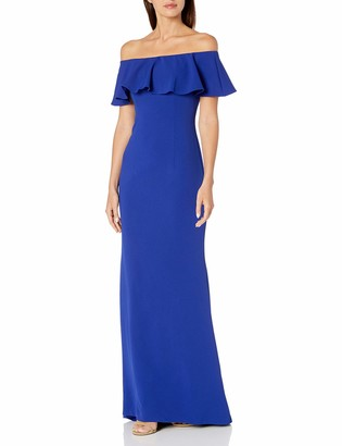 Adrianna Papell Women's Knit Crepe Flounce Bodice Gown