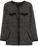 Kailey leather-trimmed tweed jacket