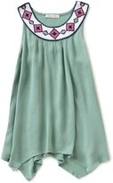 Copper Key Big Girls 7-16 Embroidered Woven Tank Top
