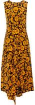 Kenzo Asymmetric Printed Silk Crepe De Chine Dress - Saffron
