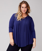 Urban Rose Women's Blouses Navy - Navy Pointed-Hem Lace-Up V-Neck Top - Plus