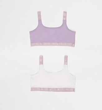 River Island Girls Purple crop tops 2 pack