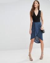 Sisley Jersey Drape Front Midi Skirt