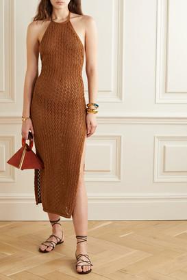 Cult Gaia Karen Crocheted Cotton-blend Halterneck Maxi Dress - Light brown