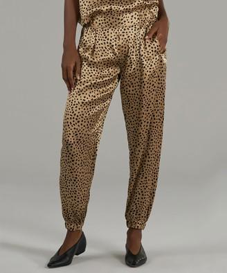 Atm Silk Pants - Camel/ Black Cheetah