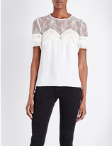 The Kooples Tiered lace and crepe top