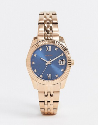 Fossil mini scarlett rose gold bracelet watch with light blue dial ES4901