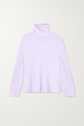Leset Alison Oversized Ribbed Stretch-knit Turtleneck Sweater - Lavender