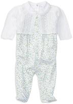 Ralph Lauren Girls' 3 Piece Overall, Bodysuit & Cardigan Set - Baby