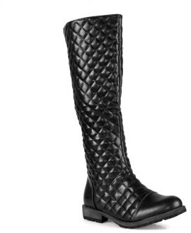 Nature Breeze Quilted Design Women's Riding Boots in Black