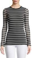 Fuzzi Sheer Striped Long-Sleeve Top