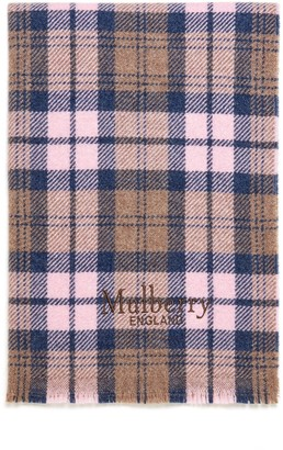 Mulberry Check and Stripes Scarf Bright Navy and Powder Pink Wool and Polyamide