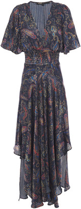 Maje Rachel Asymmetric Printed Satin-jacquard Maxi Dress