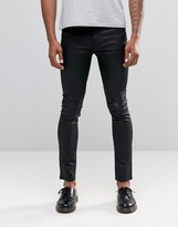 Cheap Monday Jeans Tight Stretch Skinny Fit Coated Black