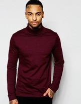 Asos Long Sleeve T-shirt With Roll Neck - Red
