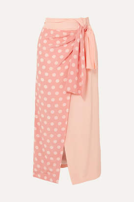 Mother of Pearl + Net Sustain And Bbc Earth Annabelle Wrap-effect Polka-dot Organic Silk Skirt - Pastel pink