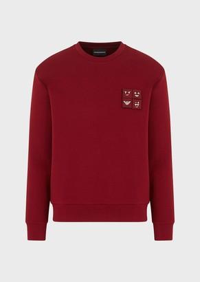 Emporio Armani Double-Jersey Sweatshirt With Emoji Patches