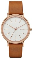 Skagen 'Hald' Leather Strap Watch, 34mm