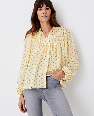 Ann Taylor Horseshoe V-Yoke Tie Neck Top