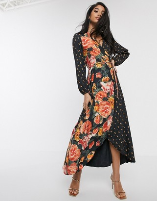 Style Cheat wrap front contrast floral maxi dress in multi floral