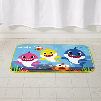 Baby Shark Kids Foam Bath Rug, Skid-Resistant, Polyester, 30AAA x 20AAA