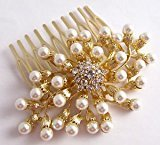 Pick A Gem Bridal Hair Accessories Gold Clear Crystal and Pearl Hair Comb by Pick A Gem Hair Accessories