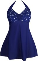 Ninimour Womens Halter One Piece Swimdress White Starlet Navy S
