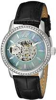 Stuhrling Original Legacy Delphi 856 Women's Automatic Watch with Mother of Pearl Dial Analogue Display and Black Leather Strap 856.02