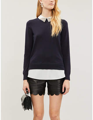 Ted Baker Liaylo embellished-collar layered knitted jumper