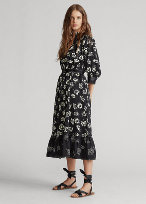 Ralph Lauren Rose-Print Satin Dress