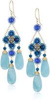 Miguel Ases Quartz Three-Drop Flower Earrings