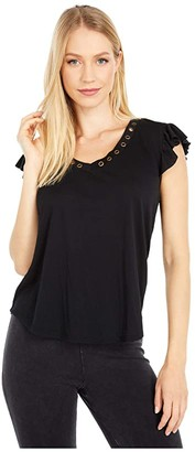 Rock and Roll Cowgirl Ruffled Sleeve 49-4528 (Black) Women's Clothing