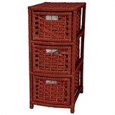 Oriental Furniture 25-Inch Rattan Style Natural Fiber 3 Drawer Narrow Chest, Mahagony