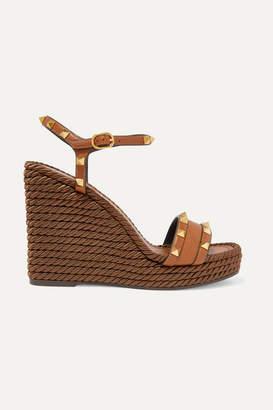Valentino Garavani The Rockstud Torchon 115 Textured-leather Espadrille Wedge Sandals - Tan