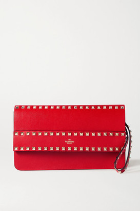 Valentino Garavani Rockstud Leather Clutch - Red