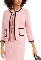 NINE WEST Womens Open Drape Neck Jacket W//Piping Detail