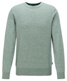 HUGO BOSS Knitted Sweater In Pure Cotton - Light Green