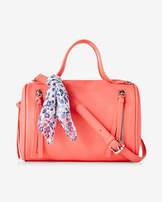 Express scarf embellished mini barrel satchel