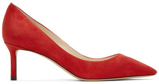 Jimmy Choo Red Suede Romy 60 Heels