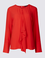 Twiggy Frill Front Round Neck Blouse
