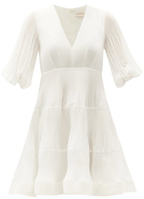 Zimmermann Puff-sleeve Plisse-voile Mini Dress - Ivory
