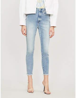 Good American Good Leg raw hem cropped straight-leg high-rise jeans