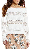 J.o.a. Off-the-Shoulder Smocked Lace Top