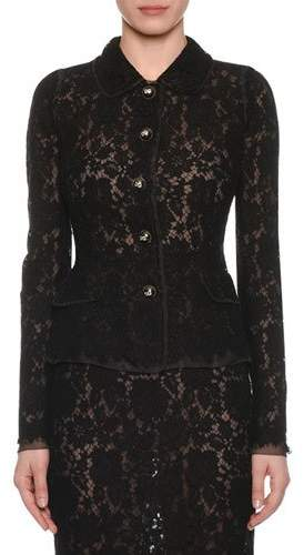 Dolce & Gabbana Button-Front Long-Sleeve Fitted Lace Jacket