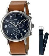 Timex Unisex TWG012800 Weekender Chrono Tan Leather Strap Watch Gift Set + Navy Nylon Strap