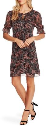 CeCe Ditsy Blossom Puff Sleeve Chiffon Dress