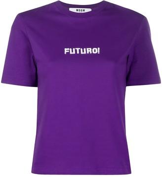MSGM Futuro print cropped T-shirt