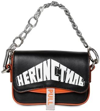 Heron Preston Logo Printed Leather Shoulder Bag