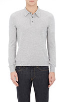Gran Sasso MEN'S KNIT LONG-SLEEVE POLO SHIRT-GREY SIZE XL