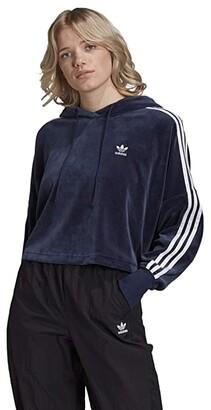 adidas Velour Cropped Hoodie (Collegiate Navy/White) Women's Clothing